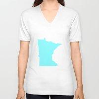 minnesota V-neck T-shirts featuring Blue Minnesota by Megan Pihlaja
