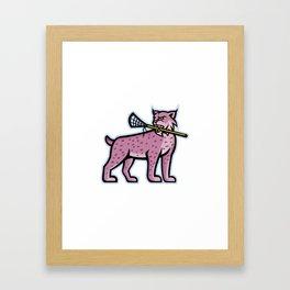 Bobcat or Lynx Lacrosse Mascot Framed Art Print