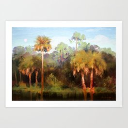 Moonrise over the Palms Art Print