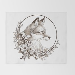 Fox & Moths Throw Blanket