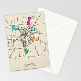 Colorful City Maps: Winnipeg, Canada Stationery Cards