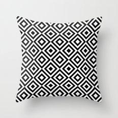 Black & White Geometric Diamond Pattern Throw Pillow