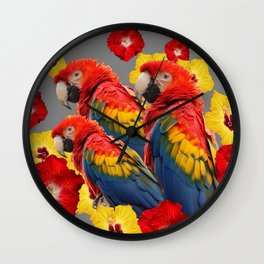TROPICAL FLORAL MACAWS & RED YELLOW HIBISCUS FLOWERS Wall Clock