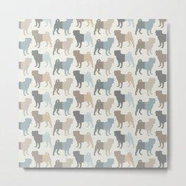 Pugs Pattern - Natural Colors Metal Print
