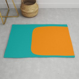 Clarity - Orange and Turquoise Minimalist Rug