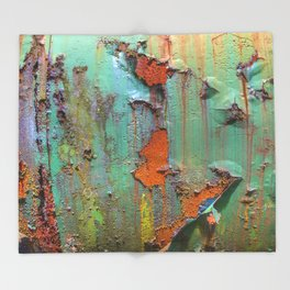 Flaking Paint on Rust Throw Blanket