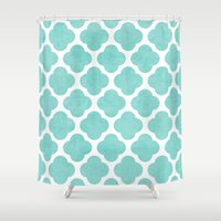 clover Shower Curtains featuring teal clover by her art