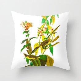 Green Black-capt Flycatcher Throw Pillow