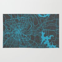 nashville Area & Throw Rugs featuring Nashville by Map Map Maps