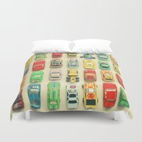 orange Duvet Covers featuring Car Park by Cassia Beck