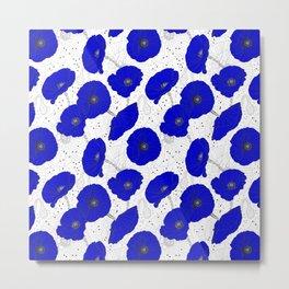 Cobalt Blue Poppies Pattern Metal Print