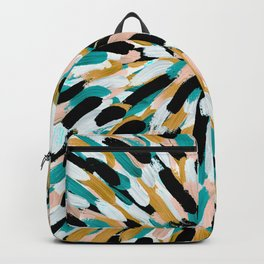 Teal, Pink, and Gold Paint Burst Backpack