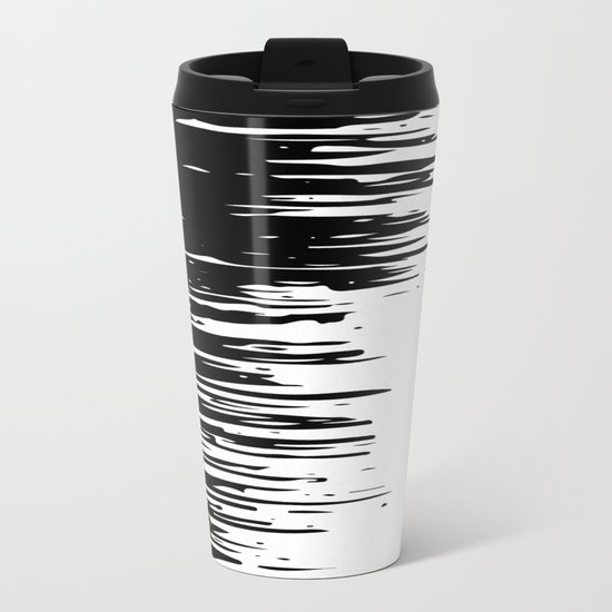 Carefree Black and White Metal Travel Mug