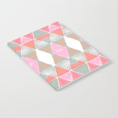 Art Deco Triangles Coral Grey Notebook