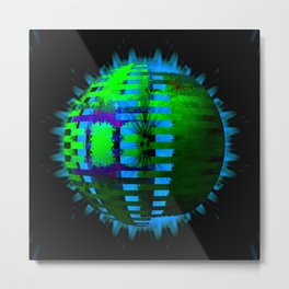 Green Layered Star in Aqua Flames Metal Print