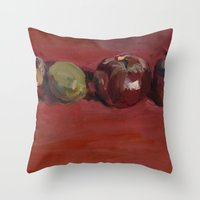 lime green Throw Pillows featuring Single Green Lime by Kari Minchin