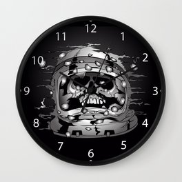 skull wearing a space astronaut helmet. Wall Clock