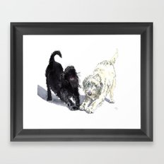 Stretching Labradoodles Framed Art Print