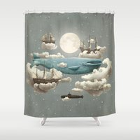 sun and moon Shower Curtains featuring Ocean Meets Sky by Terry Fan