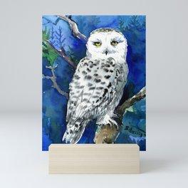 Snowy Owl, Northern Owl, White Owl, Owl art Winter woodland Mini Art Print