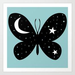 Buttefly Moon + Star Art Print