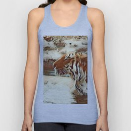 Warm colored Animal swimming tiger Unisex Tank Top