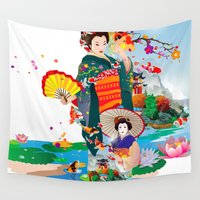 geisha Wall Tapestries featuring Geisha by AnggaAgustiya