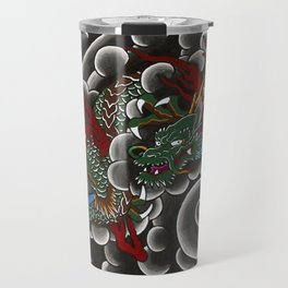Japanese tattoo style dragon in sumi ink wash and watercolor Travel Mug