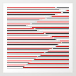 Mixed Signals Abstract - Red, Gray, Black, White Art Print