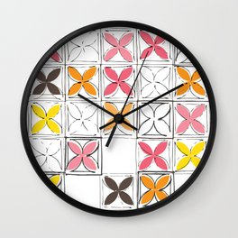 Mid-Century Cinder Blocks Pattern in Pink, Orange and Yellow Wall Clock