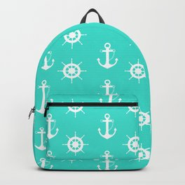 AFE Turquoise Anchor and Helm Wheel Backpack