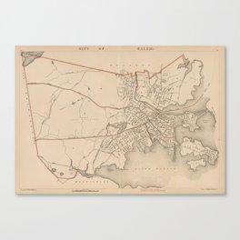 Vintage Map of Salem Massachusetts (1891) Canvas Print