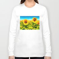 sunflowers Long Sleeve T-shirts featuring sunflowers by KrisLeov