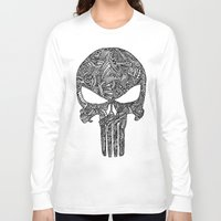 punisher Long Sleeve T-shirts featuring Punisher  by christoph_loves_drawing