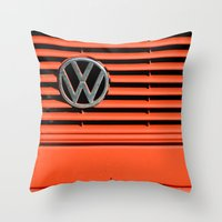 volkswagen Throw Pillows featuring Red Volkswagen by Marieken