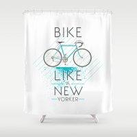 bike Shower Curtains featuring bike by Claudio Nozza Art