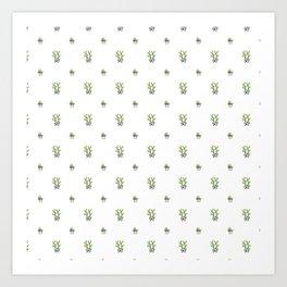 Modern trendy green black cute cactus floral Art Print