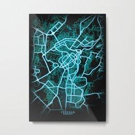 Yerevan, Armenia, Blue, White, Neon, Glow, City, Map Metal Print