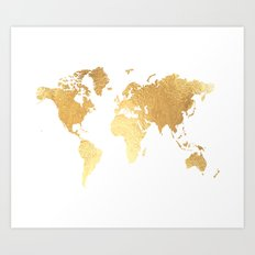 Textured Gold Map Art Print