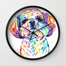 Shih Tzu / Shihtzu Watercolor Pet Portrait Painting By Lisa Whitehouse Wall Clock