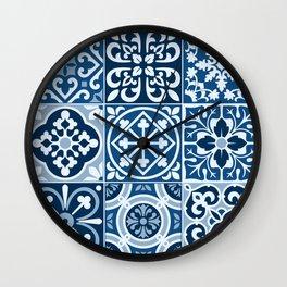 Classic Blue Tiles Wall Clock