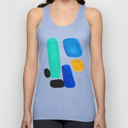 Mid Century Vintage Abstract Minimalist Colorful Pop Art Teal Blue Turquoise Yellow Pattern Unisex Tank Top