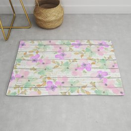 Rustic white wood mint green pink watercolor floral Rug