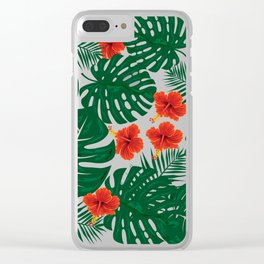Tropical Leaves Hibiscus Flowers Clear iPhone Case