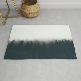 Moody Black & White Pine Misty Foggy Forest Minimalist Landscape Photography Rug