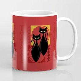 Devilishly Delightful Atomic Age Black Kitschy Cats Coffee Mug