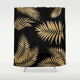 Golden and Black Palm Leaves Shower Curtain