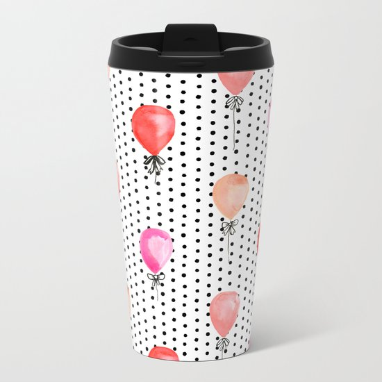 Balloons painted in watercolor on polka dots pattern minimal valentines love gifts Metal Travel Mug
