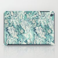 fig iPad Cases featuring Fig Leaf Fancy - a pattern in teal and grey by micklyn