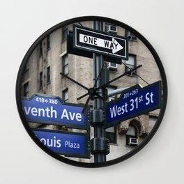 New York City Street Names Wall Clock